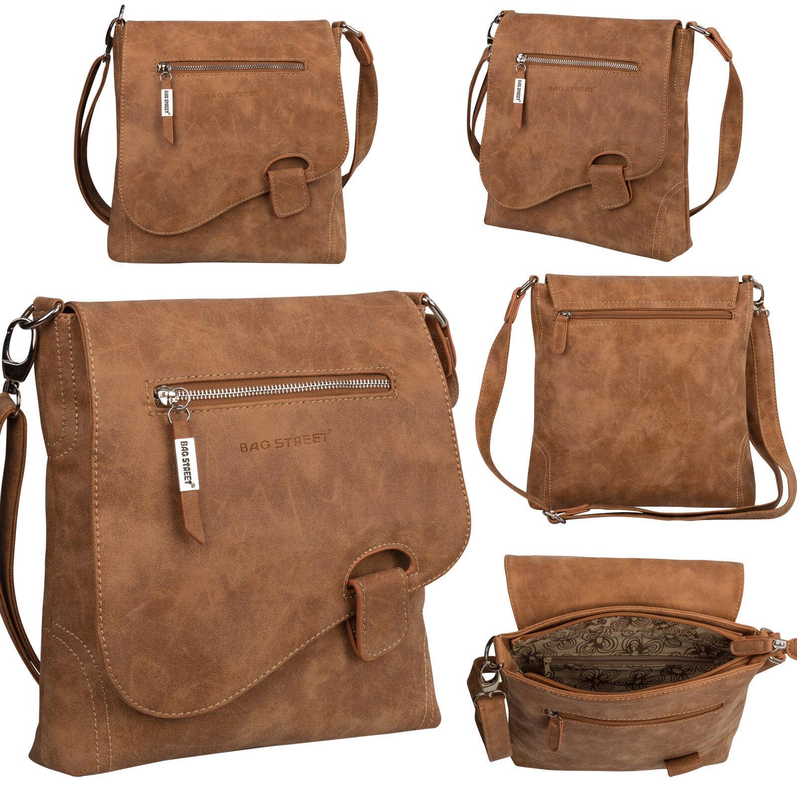 Bag Street Damentasche Umhängetasche Handtasche Schultertasche K2 T0104 Cognac