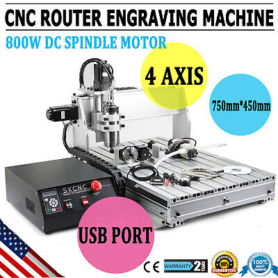 New 4 Axis 800w 6040z Desktop Cnc Router Engraver Milling Engraving Machine Usa