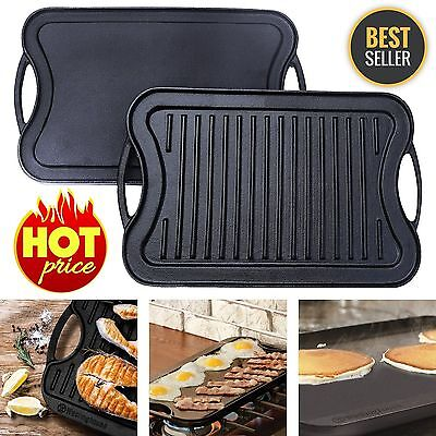 "Reversible Cast Iron Grill Griddle Pan Hamburger Steak Stove Top Fry 17"" x 10"""