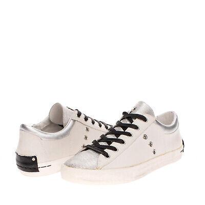 RRP €120 CRIME LONDON Leather Sneakers EU 37 UK 4 US 7 Metallic Effect Textured