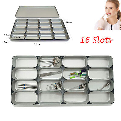 Autoclave 16 Slots Dental Burs Files Holders Disinfection Tray Box Case Cover