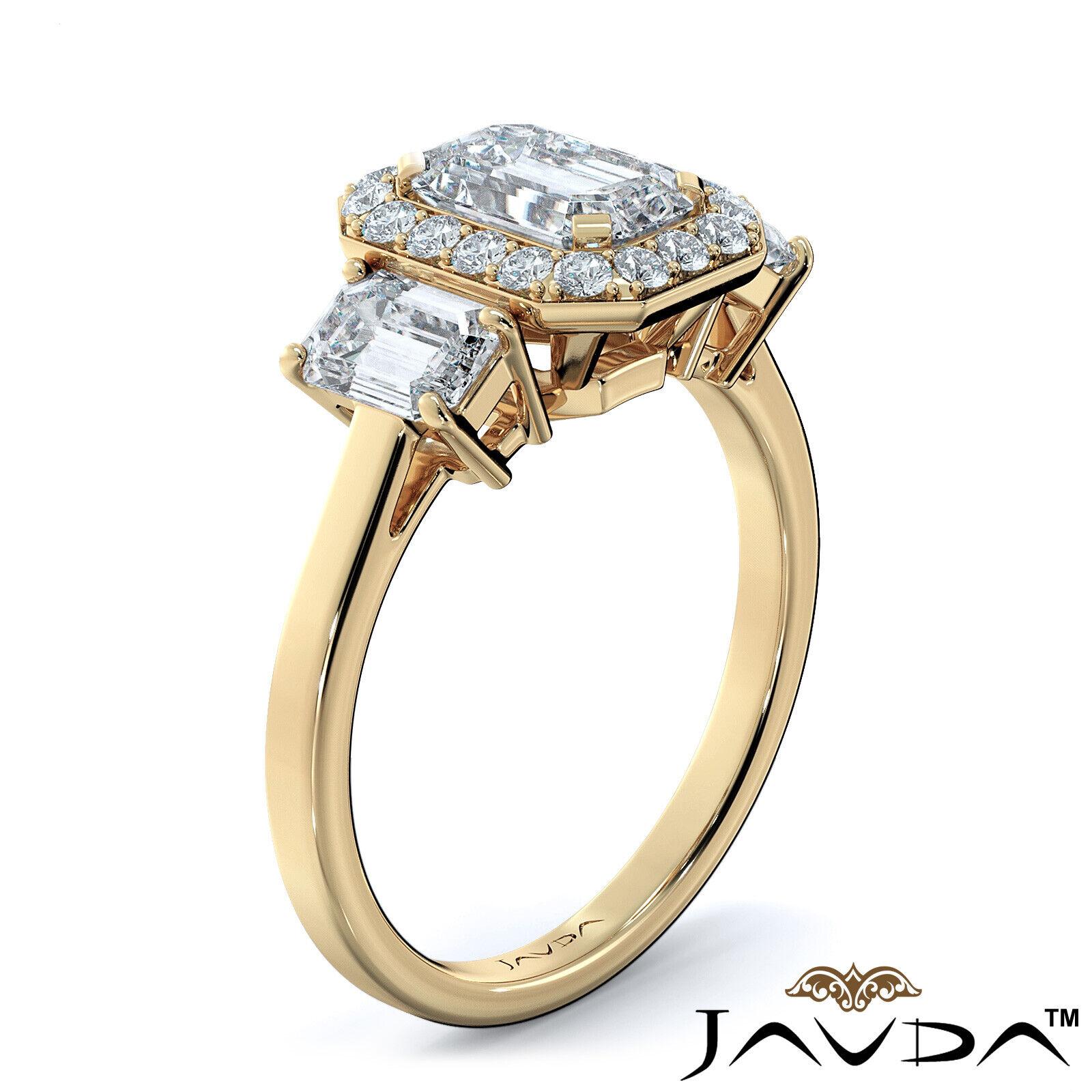 1.55ctw 3 Stone Halo Pave Emerald Diamond Engagement Ring GIA F-SI2 White Gold 9
