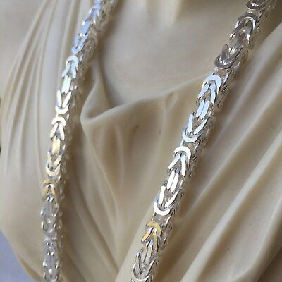 925 Sterling Silver Square Viking Byzantine Men Chain Necklace 5mm 80GR 24Inch   24' Square Byzantine Chain