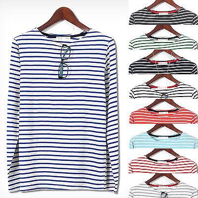 Mens Premium Thin Stripe Long Sleeve Casual T-shirts Tee Top D-026 S/M KOREA