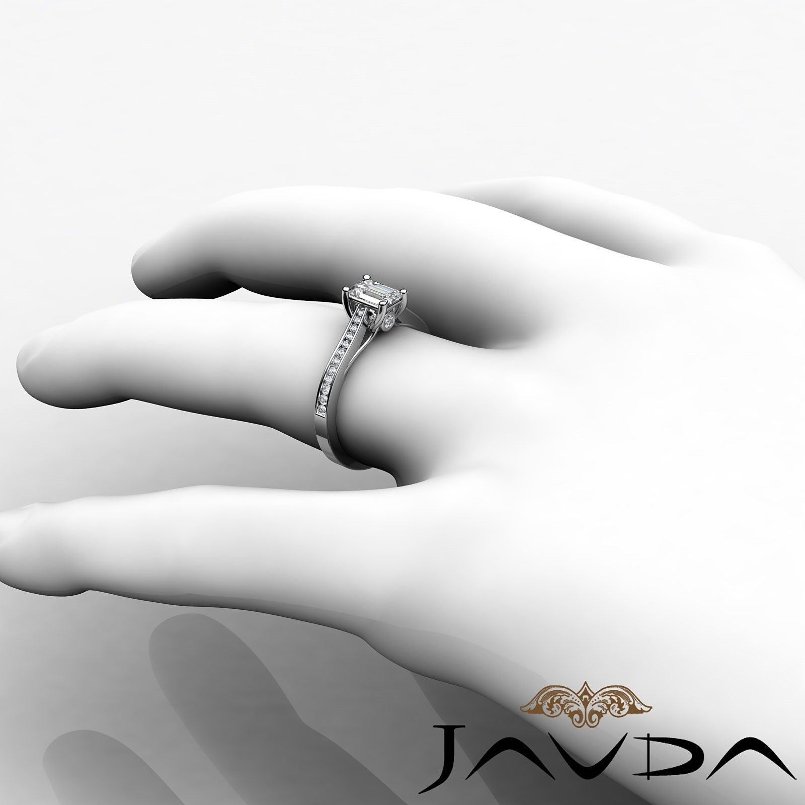 1.32ctw Channel Set Shank Emerald Diamond Engagement Ring GIA F-VVS2 White Gold 3