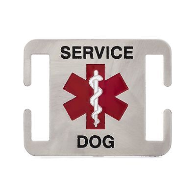 Leash Boss Service Dog ID Tag - Fits Directly on Dog Collar or Harness - Quie... Dog Leash Id Tag