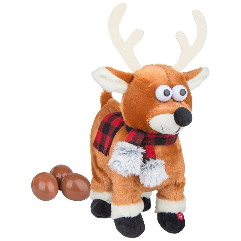 Gemmy Christmas Reindeer Singing Dancing Animated Plush Pooping Egg Drop NEW