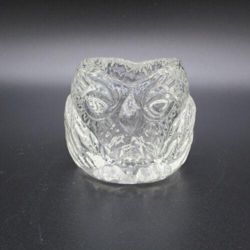 Vintage Owl Clear Glass Toothpick Holder