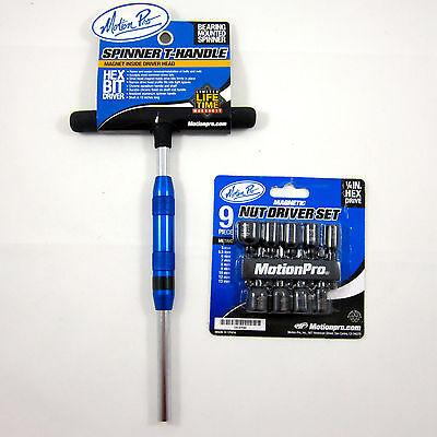 Motion Pro Spinner T-Handle Bit Driver & 9 Piece Nut Driver Set 08-0556 08-0590 9 Piece Driver Bit
