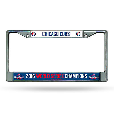 Chicago Cubs 2016 World Series Champions Metal Chrome License Plate Frame NWT