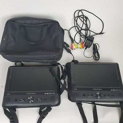 """Insignia 9"""" Dual Screen Portable DVD Players NS-DS9PDVD15 Both Units Bag Cables"""