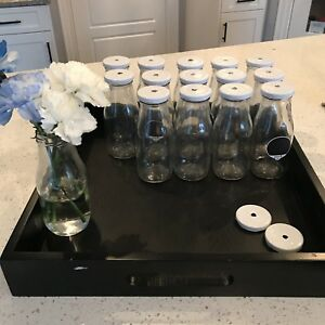 14 Small Glass Milk Jug Bottles/Vases
