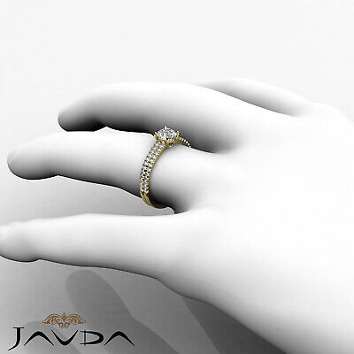 2 Row Shank French U Pave Round Diamond Engagement Ring GIA I Color VS2 1.21 Ct 8