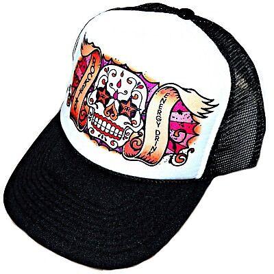 Rockstar Energy Dia De Los Muertos Sugar Skull Tattoo Snapback Trucker Mesh Hat - Rockstar Tattoo