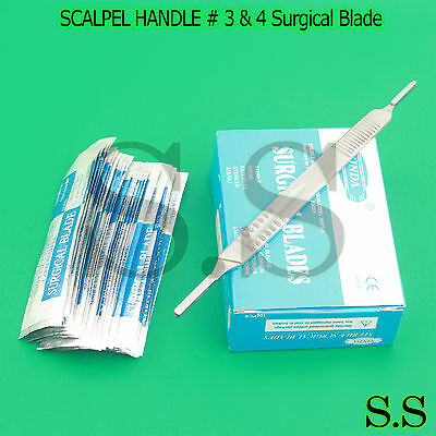 1 Scalpel Knife Handle 3 4 100 Pcs Sterile Surgical Blade 10 11 20 21