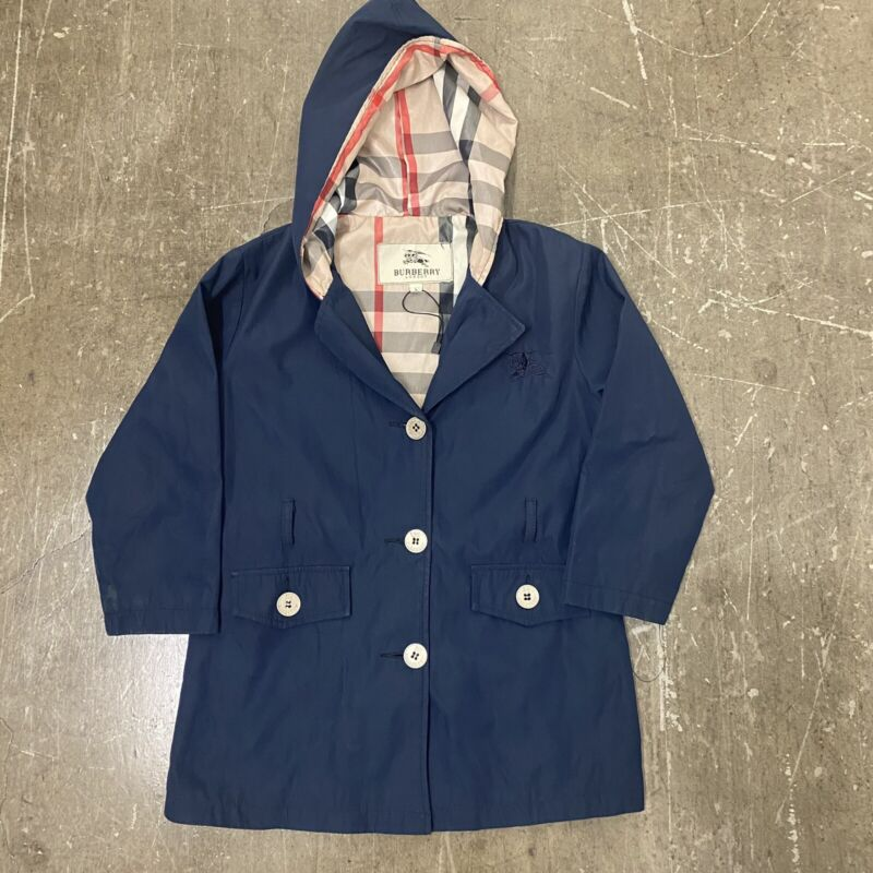 Authentic Childrens Burberry London Nova Check Hooded Rain Jacket Size Large