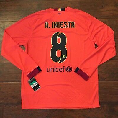 2014/15 Barcelona Away Jersey #8 INIESTA XL Long Sleeve Soccer Nike Spain NEW image