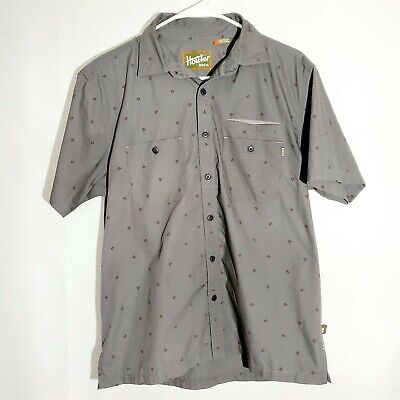 HOWLER BROS Mens Gray Short Sleeve Button Front Pocket Shirt Size Small