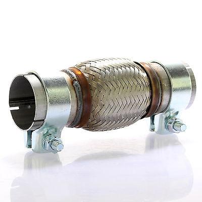 Edelstahl Flexrohr (Edelstahl Flexrohr Auspuff 55 x 100 mm + 2 Schellen Flexstück Set ohne Schweißen)