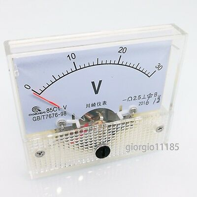 Us Stock Analog Panel Volt Voltage Meter Voltmeter Gauge 85c1 0-30v Dc