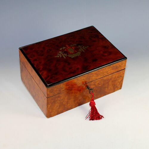 Antique Inlaid Amboyna Burl Wood Dresser Box, Marquetry