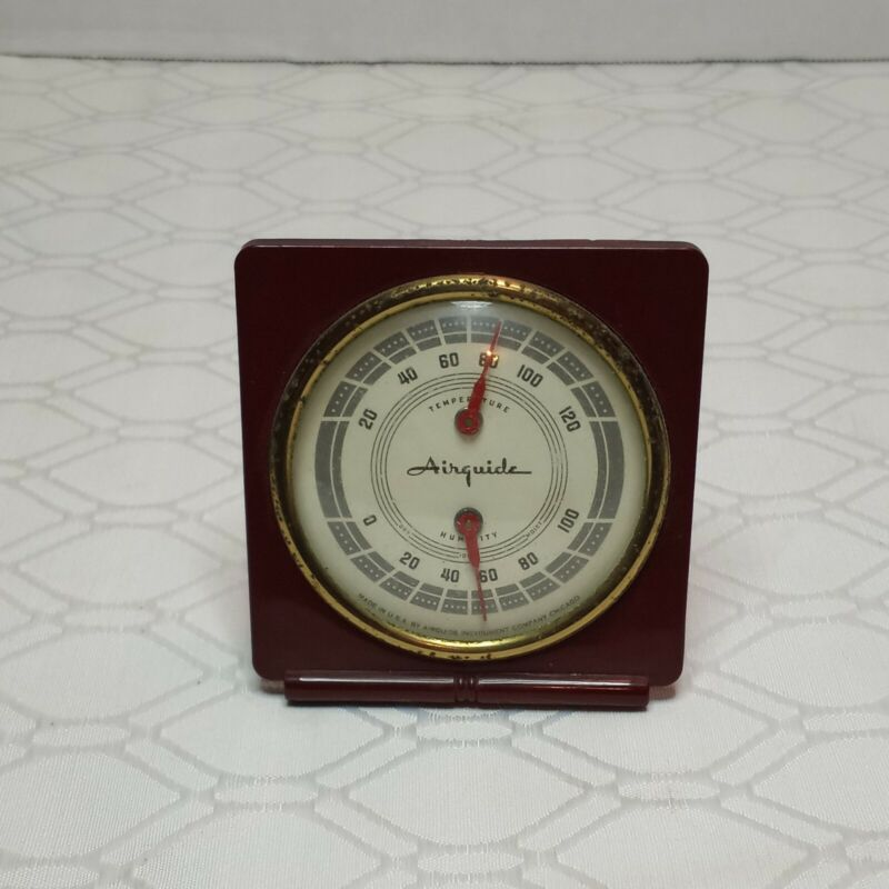 Vintage Airguide Humidity and Temperature Weather Desk Top Thermometer USA...