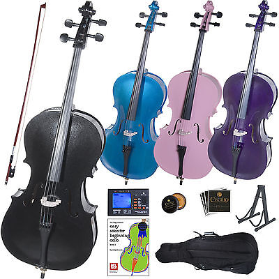 CECILIO STUDENT CELLO in BLACK BLUE PINK PURPLE SIZE 4/4 3/4 1/2 1/4 1/8