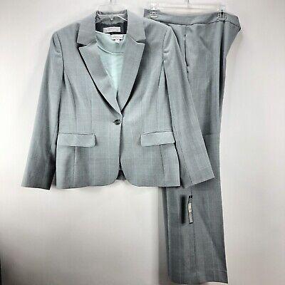 Tahari Arthur S Levine Womens Pant Suit Sz 16 Gray Mint Plaid Wide Leg 3 pc NWT