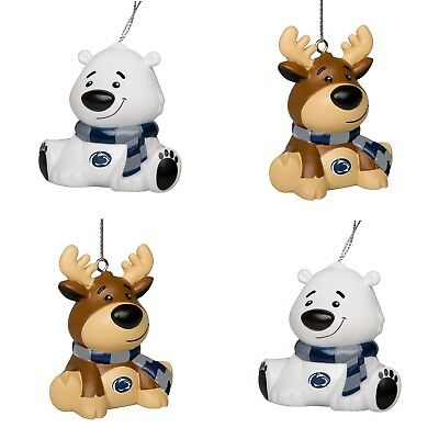 Penn State PSU 4 Pack Reindeer & Polar Bear Christmas Tree Holiday Ornament New ()