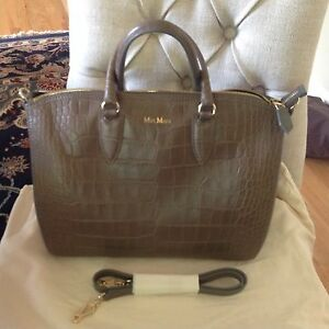 Authentic Max Mara Taupe Galea Boston Bag Tote Satchel Purse MINT