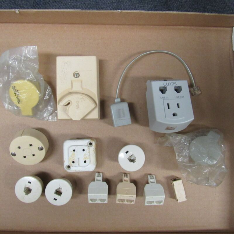 Assorted Vintage Telephone Jacks and Accessories / New and Pre-Owned / 14 Pieces