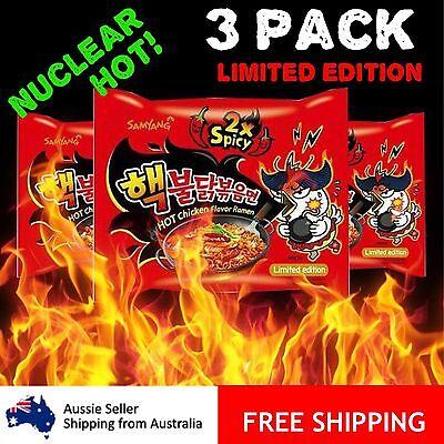 Samyang Nuclear Hot Spicy Ramen Noodles 3 Packs Korean Buldak Bokeum 2X Spicy