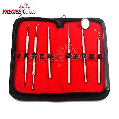 6pcs Dental Tools Kit Teeth Tartar Scraper Mouth Mirror Dentists Stainless Steel