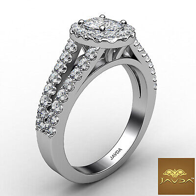 Halo Split Shank U Pave Set Cushion Diamond Engagement Ring GIA F VVS2 1.25 Ct 6