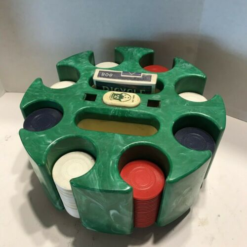Vintage Green Marble Bakelite Poker Carousel Chip Caddy with 3 Color Chips