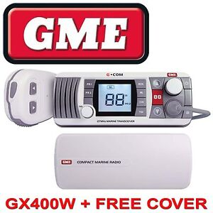 GME GX400 27 Mhz Transceiver White FREE SUN DUST COVER + POSTAGE CB Marine Radio