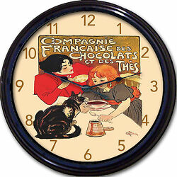 Chocolate Paris France Cat Kitchen Compagnie Poster Wall Clock Steinlin Country