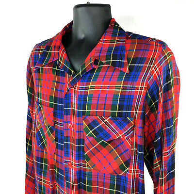 1940s Men's Shirts, Sweaters, Vests Vintage 1940s Brentwood Sportswear Mens Red Plaid Button Down Shirt Size 3 / Med $148.88 AT vintagedancer.com