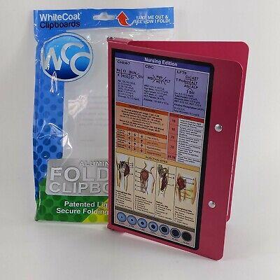 WhiteCoat Clipboard Pink Nursing Edition Lightweight Aluminum Foldable