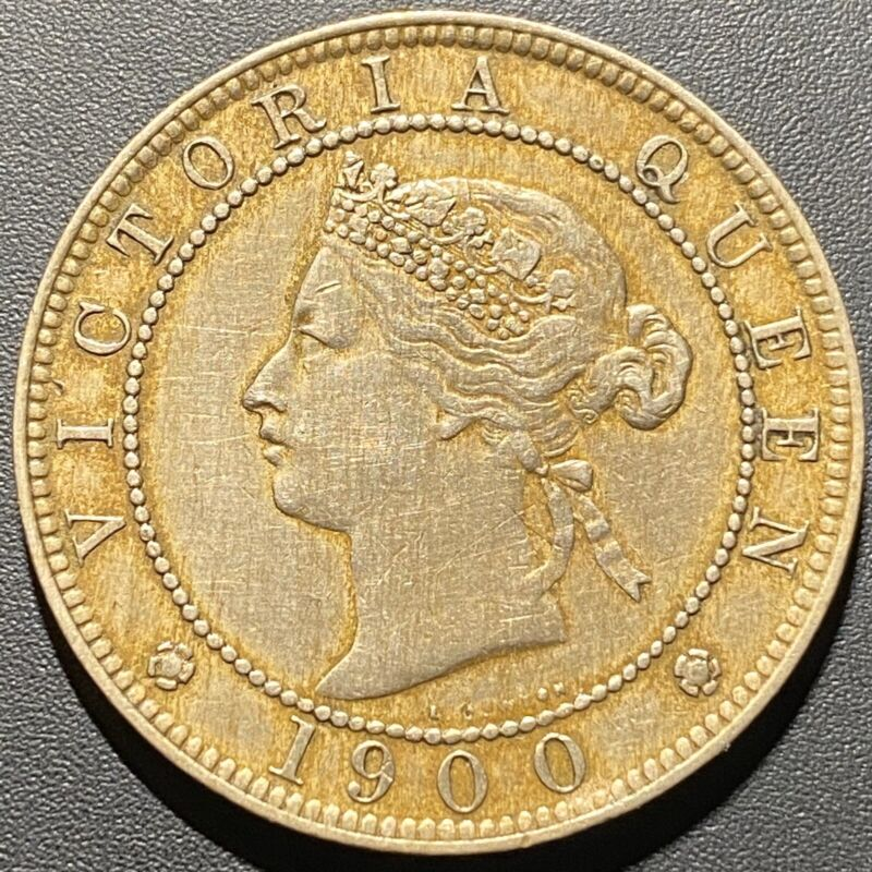 Old Foreign World Coin: 1900 Jamaica 1 Penny, Queen Victoria