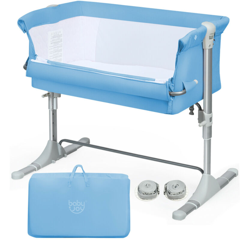 Portable Baby Bed Side Sleeper Infant Travel Bassinet Crib W/Carrying Bag Blue