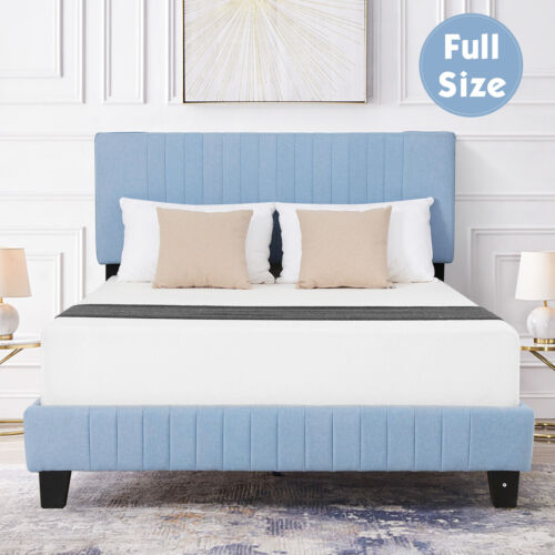Full Size Linen Upholstered Metal Bed Frame Platform