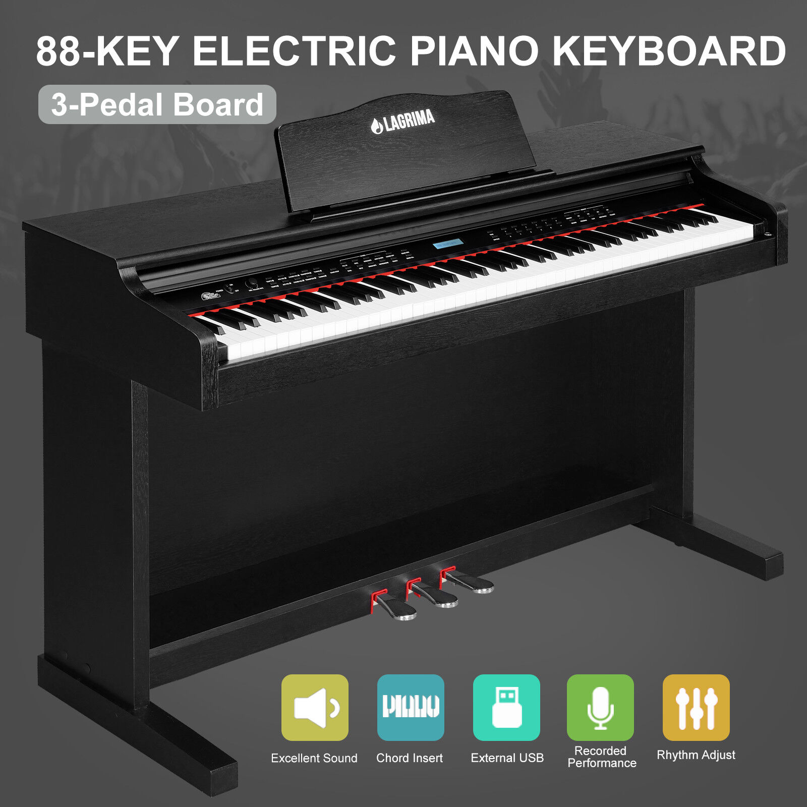 88 Key Music Electric Digital LCD Piano Keyboard with Stand+