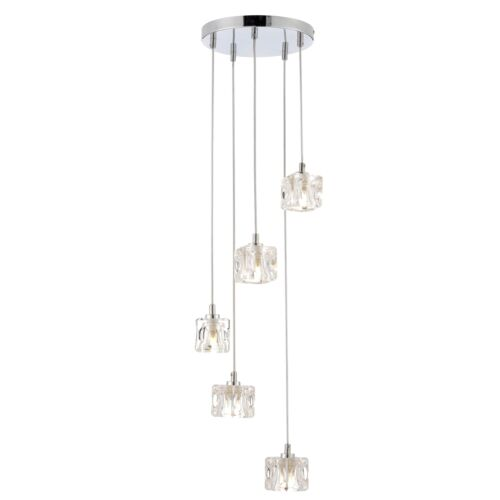 Modern 5 light ice cube spiral cluster ceiling pendant light in modern 5 light ice cube spiral cluster ceiling pendant light in chrome finish aloadofball Choice Image
