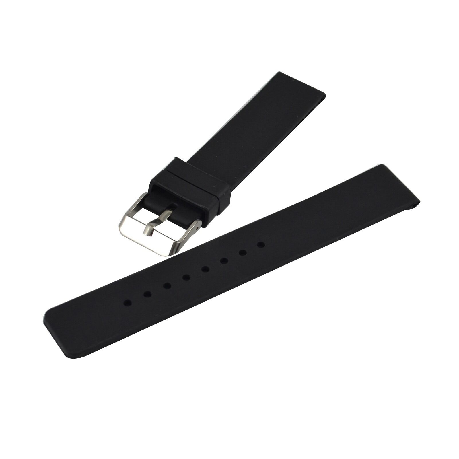 18-24mm Rubber Silicone Watch Band Strap Unisex Deployment B