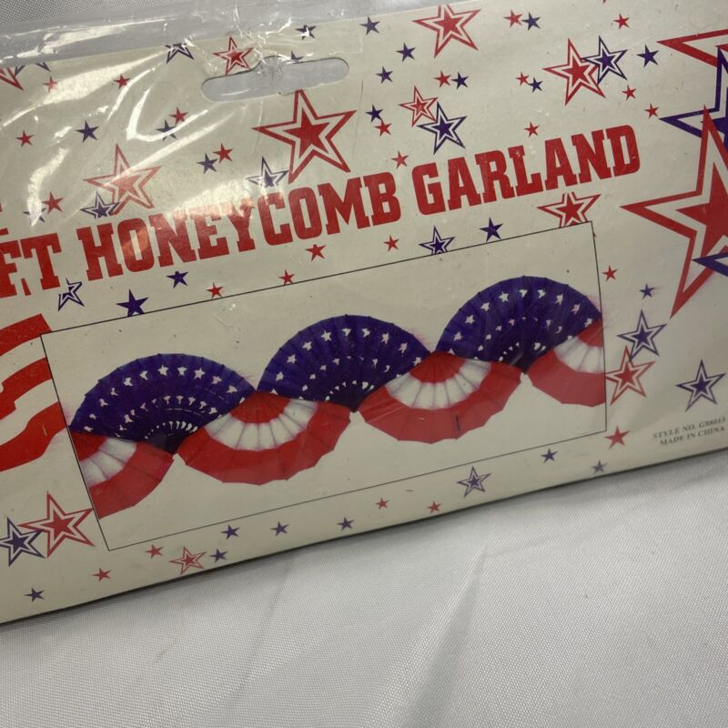 Retro Good Old Value 8 Foot Flag USA A Honeycomb Paper Garland