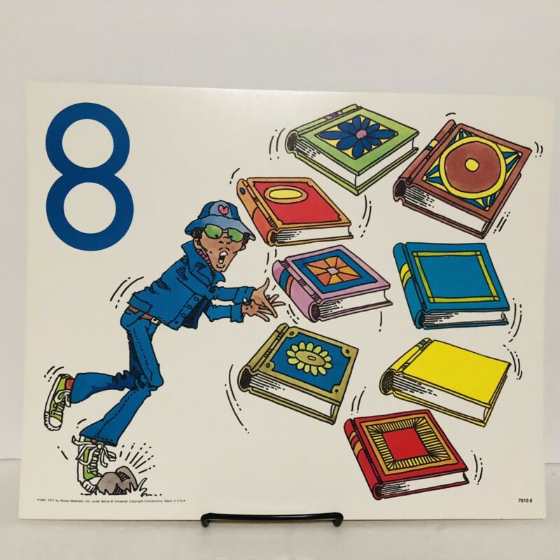 Vintage Number 8 Eight Poster Card Electric Company 1985 Educational