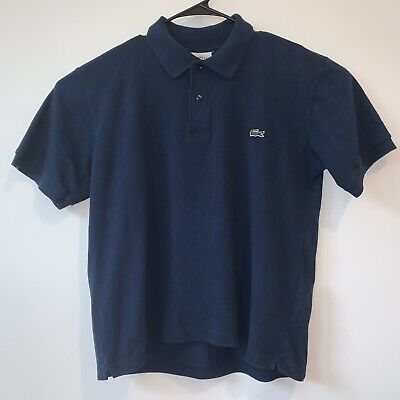 Lacoste Crocodile Mens Polo Shirt Short Sleeve Size 7 Cotton Navy Blue