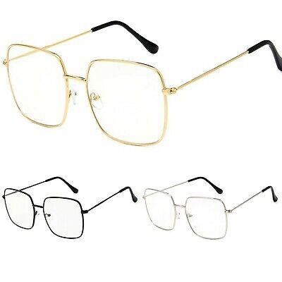 Damen Große Übergröße Metallrahmen Klarglas Brille Retro 80s Mode