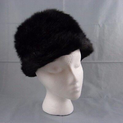 Vintage Tall Black Faux Fur Russian Kubanka Bucket Hat England Size S/M 22